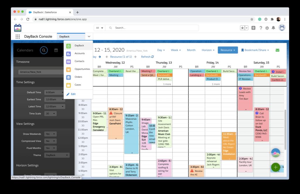 DayBack Calendar in a Lightning Console App